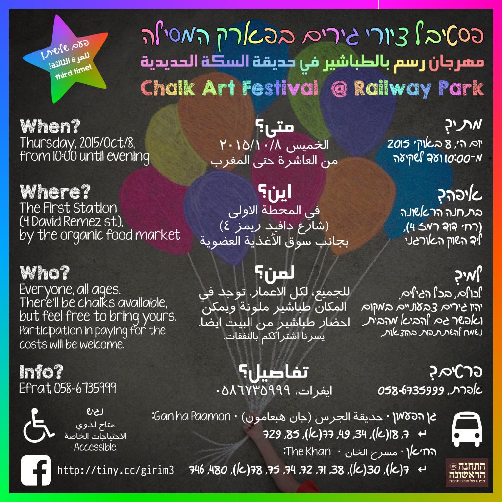 מידע תלת־לשוני על פסטיבל ציורי־הגירים השלישי בירושלים